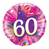 Balão metalizado redondo 18 polegadas - 60 estrela brilhante rosa intenso - qualatex