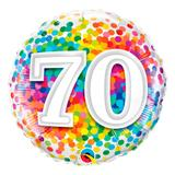 Balão metalizado redondo 18 polegadas - 70 confete arco-íris - qualatex
