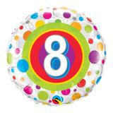 Balão metalizado redondo 18 polegadas - 8 anos pontos coloridos - qualatex