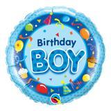 Balão metalizado redondo 18 polegadas - aniversário, azul menino - qualatex