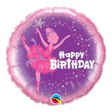 Balão metalizado redondo 18 polegadas - aniversário, bailarina - qualatex