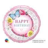 Balão metalizado redondo 18 polegadas - aniversário, borboletas e rosas - qualatex