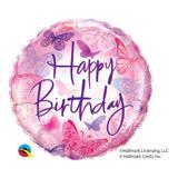 Balão metalizado redondo 18 polegadas - aniversário, borboletas voando - qualatex