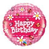 Balão metalizado redondo 18 polegadas - aniversário, joaninhas e margaridas - qualatex