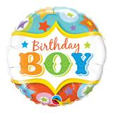 Balão metalizado redondo 18 polegadas - aniversário, menino, estrelas de circo - qualatex