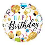 Balão metalizado redondo 18 polegadas - aniversário, pontos brilhantes - qualatex