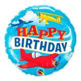 Balão metalizado redondo 18 polegadas - aviões de aniversário - qualatex