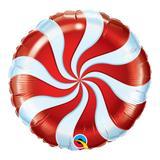 Balão metalizado redondo 18 polegadas - bala espiralada vermelha - qualatex