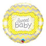 Balão metalizado redondo 18 polegadas - bebê amado com estampa amarela - qualatex
