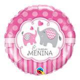 Balão metalizado redondo 18 polegadas - é uma menina, elefantes - qualatex