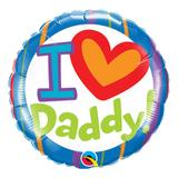 Balão metalizado redondo 18 polegadas - eu (coração) papai! - qualatex