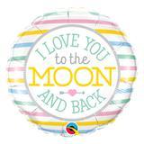 Balão metalizado redondo 18 polegadas - eu te amo daqui até a lua - qualatex