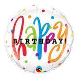Balão metalizado redondo 18 polegadas - feliz aniversário com pontos - qualatex