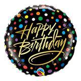 Balão metalizado redondo 18 polegadas - feliz aniversário, pontos coloridos - qualatex
