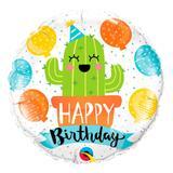 Balão metalizado redondo 18 polegadas - festa de aniversário cactos - qualatex
