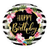 Balão metalizado redondo 18 polegadas - listras e hibiscos de aniversário - qualatex