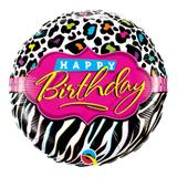 Balão metalizado redondo 18 polegadas - padrões de leopardo e zebra de aniversário - qualatex