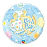 Balão metalizado redondo 9 polegadas - é um menino, com girafa delicada - qualatex