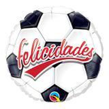 Balão metalizado redondo 9 polegadas - felicidades, bola de futebol - qualatex