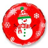 Balão Metalizado Redondo Vermelho Boneco de Neve 20 polegadas - Flexmetal - Festabox