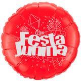 Balão Metalizado Vermelho e Prata Festa Junina Flexmetal - Festabox