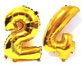 Balão Número 24 Gigante  Dourado Metalizado Festas Decoração 75 Cm - Festas  decor