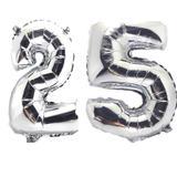 Balão Número 25 Gigante  Prata Metalizado Festas Decoração 75 Cm - Festas  decor