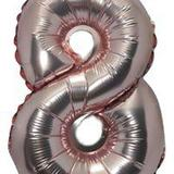 Balão Rose Gold Gigante Número 8  Metalizado 75 Cm - Festas  decor