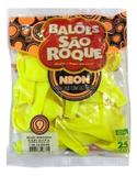 Balão São Roque Neon N9 C/25un Amarelo