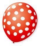Balão São Roque Póa N9 C/25un Vermelho Quente Com Bolinha Branca