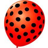 Balão São Roque Póa N9 C/25un Vermelho Quente Com Bolinha Preta