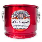 Balde de Gelo Cerveja Budweiser Alumínio Vermelho 10L - Alumibon