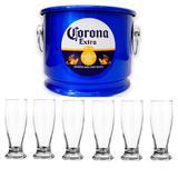 Balde De Gelo Corona 10litr + 6 Copos Cerveja Munich 200ml - Alumibom