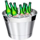 Balde de gelo e cerveja - alumínio lixado - 6l - Retrofenna