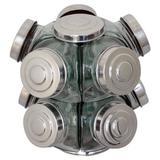 Baleiro De Vidro Giratório Grande 10 Potes Tampas Alumínio - Boemia
