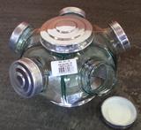 Baleiro De Vidro Giratório Mini 05 Potes Tampa Alumínio - Boemia