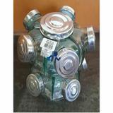 Baleiro De Vidro Giratório Mini 10 Pote Duplo Tampa Alumínio - Boemia