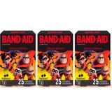 Band Aid Os Incríveis Curativo Infantil C/25 (Kit C/03)