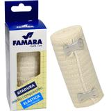Bandagem Atadura elastica Média Compressão c/ 2 Presilhas 10cm x 1,30m Famara Cor Natural