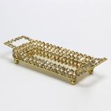 Bandeja de Cristal Retangular Dourada - Wolff