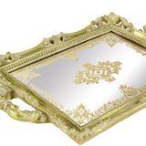 Bandeja dourada em poliresina com espelho 7252 - Mart