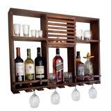Bar Adega Rústico de Parede Art Madeira até 8 Garrafas com Porta Rolhas - Arte em madeira