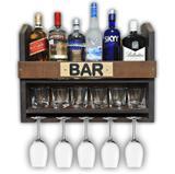 Bar Barzinho Adega Suporte de Parede Para Whisky Vinhos Bebidas 60x45cm Tabaco Fosco - Soul fins