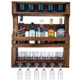 Bar de Parede Art Madeira para 05 Garrafas com Porta Taças e Suporte Copos - Arte em madeira