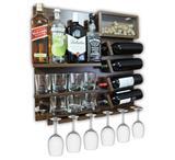 Barzinho Adega Para Sala Aparador De Parede Vinhos Bebidas Madeira MDF 66x64cm Imbuia - Soul fins
