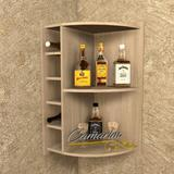 Barzinho de canto com Adega para 5 garrafas - Bar10 CARVALHO - Camarim móveis