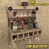 Barzinho De Parede COM CAIXA DE SOM Porta Taças E Iluminação - Bar07 - Camarim móveis