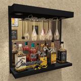 Barzinho De Parede Porta Taças E Iluminação - Bar06 PRETO - Camarim móveis