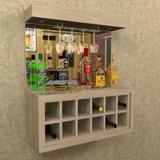 Barzinho Para 12 Garrafas e Porta Taça E LED - BAR01 CARVALHO - Camarim móveis