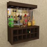 Barzinho Para 12 Garrafas e Porta Taça E LED - BAR01 TABACO - Camarim móveis